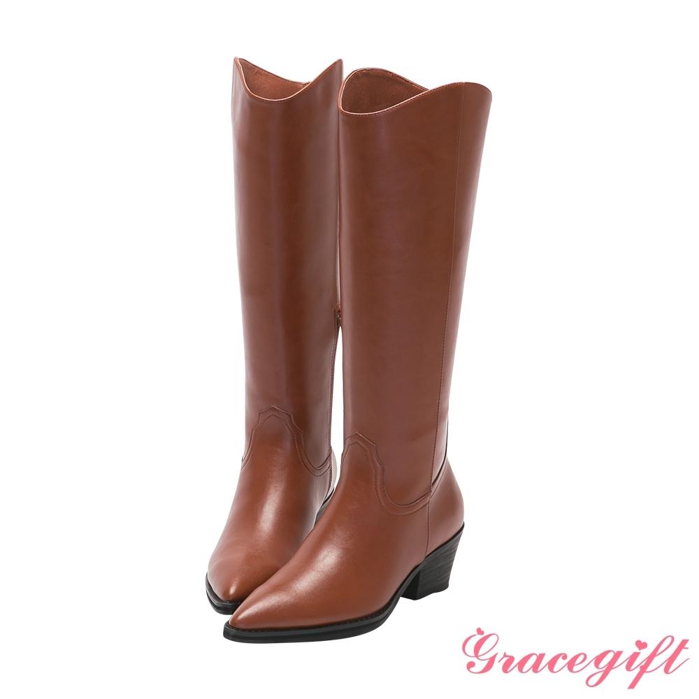 Grace gift X唐葳-聯名尖頭西部中跟長靴 棕