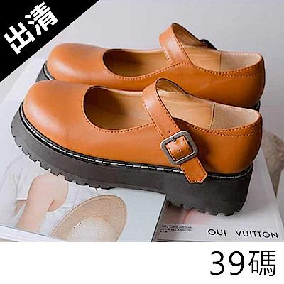 韓國KW美鞋館 優雅復古英倫學院風紐扣平底鞋-棕色