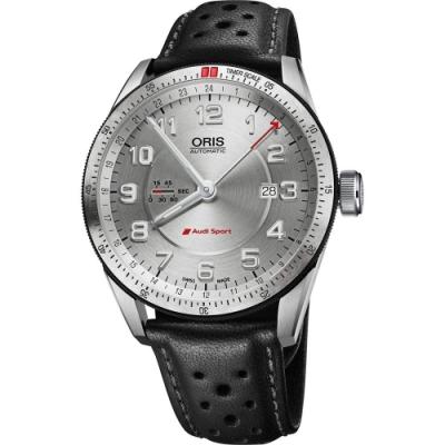 Oris Audi Sport GMT 賽車聯名錶-銀x黑44mm 0174777014461