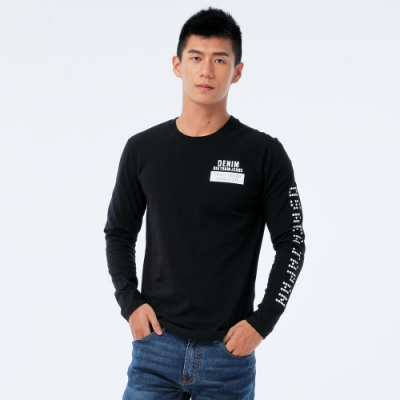 BIG TRAIN 單寧潮人長袖男T-男-黑