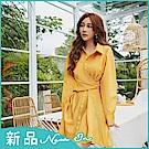 IREAL【約會穿搭】條紋翻領綁帶兩穿式襯衫洋裝