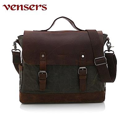 vensers 韓潮頂級棉麻包系列~公事包(C207701軍綠)