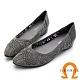 GEORGE 喬治皮鞋 質感水鑽鏤空尖頭平底鞋-灰色 product thumbnail 1