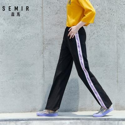 SEMIR森馬-潮流休閒文字織帶運動長褲-女