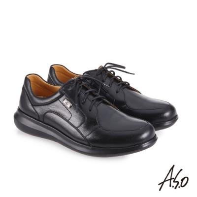 A.S.O 機能休閒 萬步健康鞋 內腰拉鍊設計款商務休閒鞋-黑