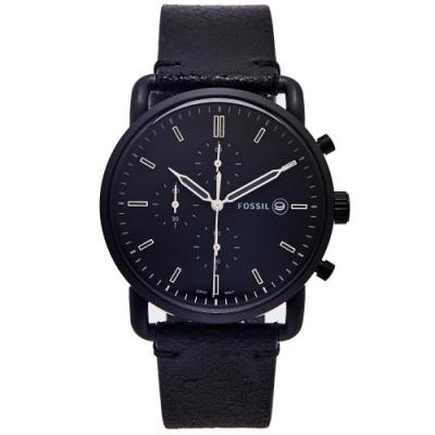 FOSSIL 簡約個性風計時手錶(FS5504)-黑色面x黑色/42mm