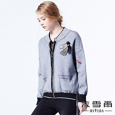 【麥雪爾】Oversize斑馬刺繡落肩壓線外套