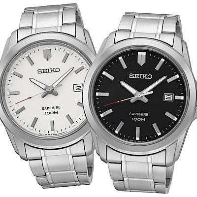 SEIKO 經典時尚 藍寶石水晶日期腕錶-任選均一價