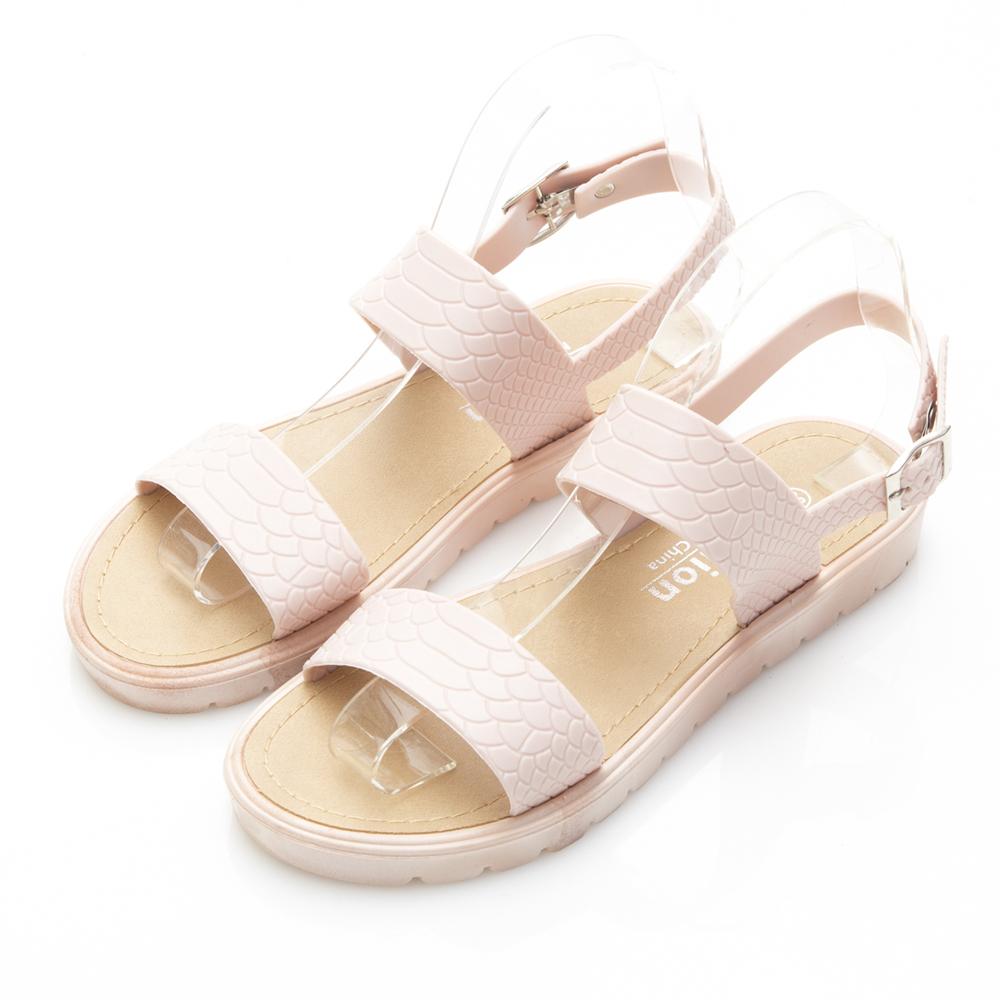 JMS-雨天剋星防水一字帶簡約PU防水涼鞋-粉色