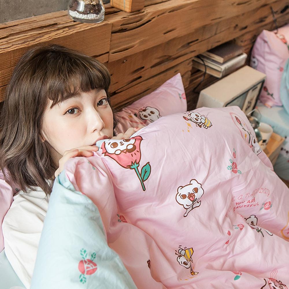戀家小舖 / 雙人加大床包兩用被套組  粉紅戀愛款-爽爽貓的熱戀  100%精梳棉  台灣
