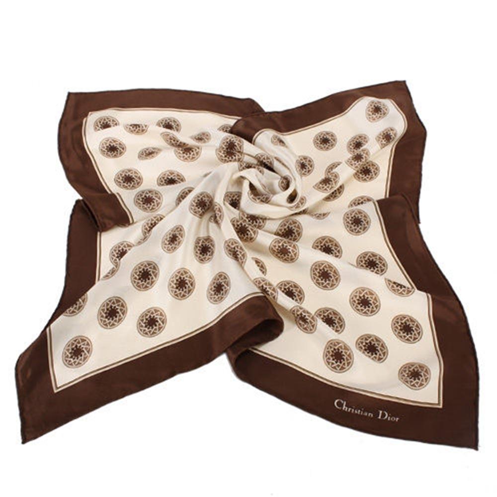 Christian Dior 星芒圓點大絲巾-咖啡色