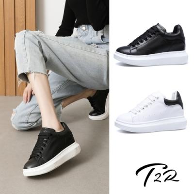 T2R-正韓空運-增高鞋造型真皮小白鞋隱形增高鞋-增高9公分-黑/白