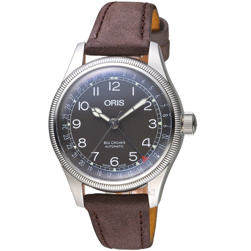 Oris豪利時BIG CROWN摩登飛行手錶-36mm/棕