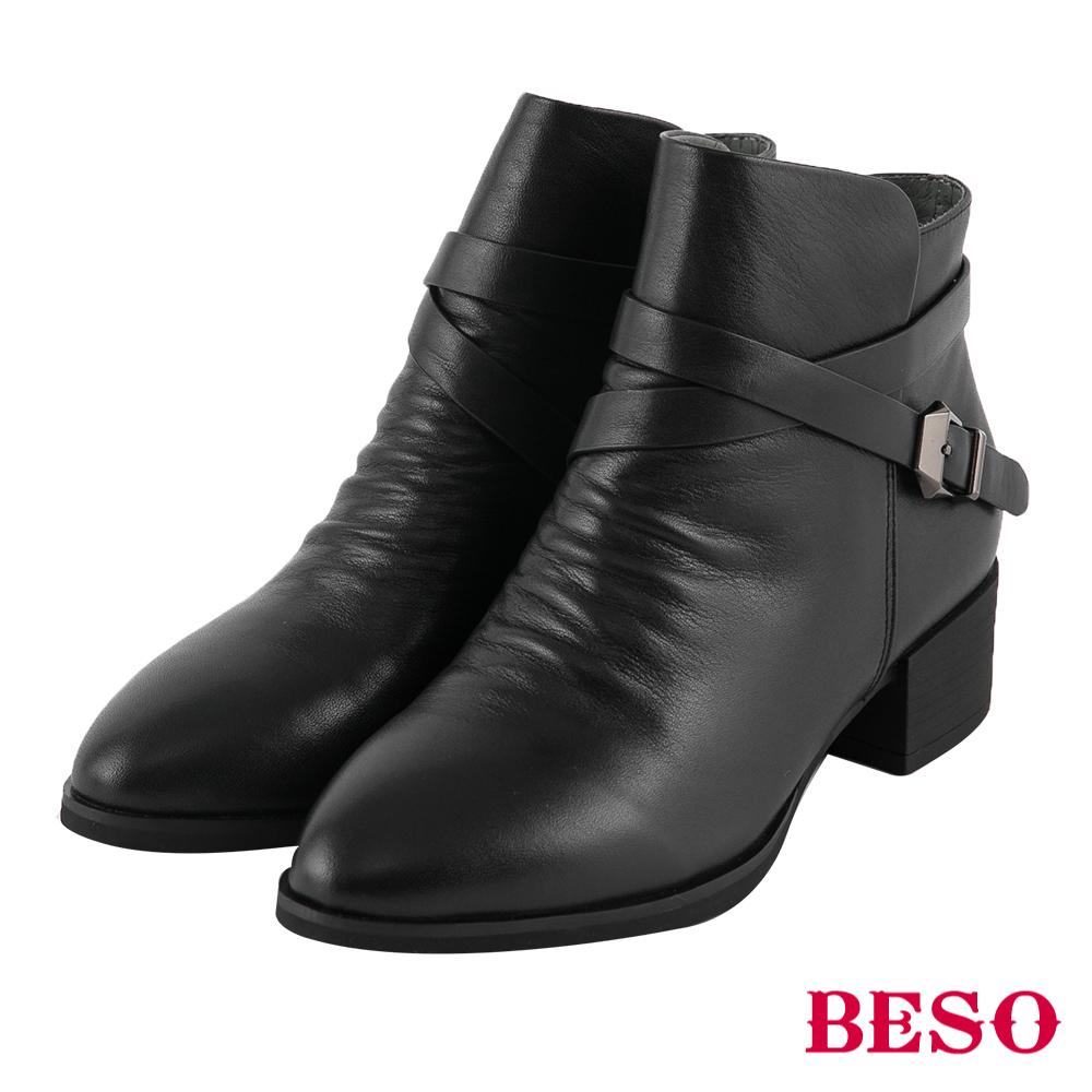 BESO  極致品味 交叉皮帶工程短靴~黑
