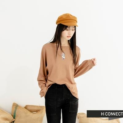 H-CONNECT 韓國品牌 女裝-【咖啡紗系列】療癒時光 Coffee Smoothie落肩大學T-棕