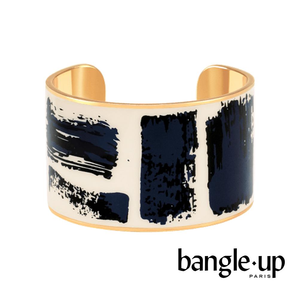 BANGLE UP 個性刷色琺瑯鍍金寬手環 -藍白
