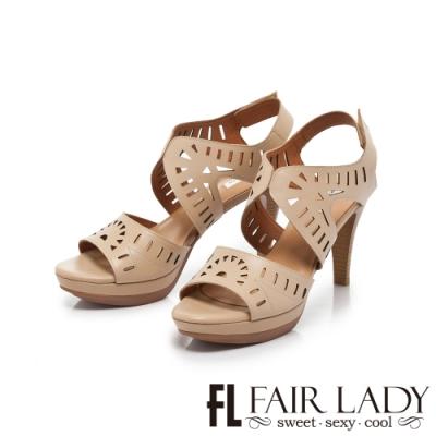 【FAIR LADY】Early Summer幾何鏤空造型高跟涼鞋 卡其