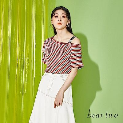 beartwo 條紋斜肩設計上衣(二色)