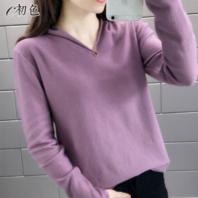 初色  V領純色打底針織衫-共9色-(M-2XL可選)