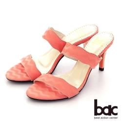 【bac】簡約波浪一字帶高跟拖涼鞋-玫紅