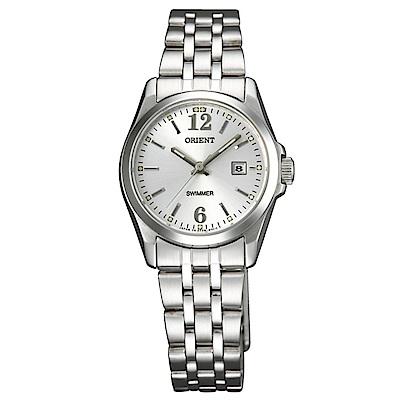 ORIENT東方錶 子午新氣質石英女錶鋼帶(SSZ3W004W0)-銀白面x27mm