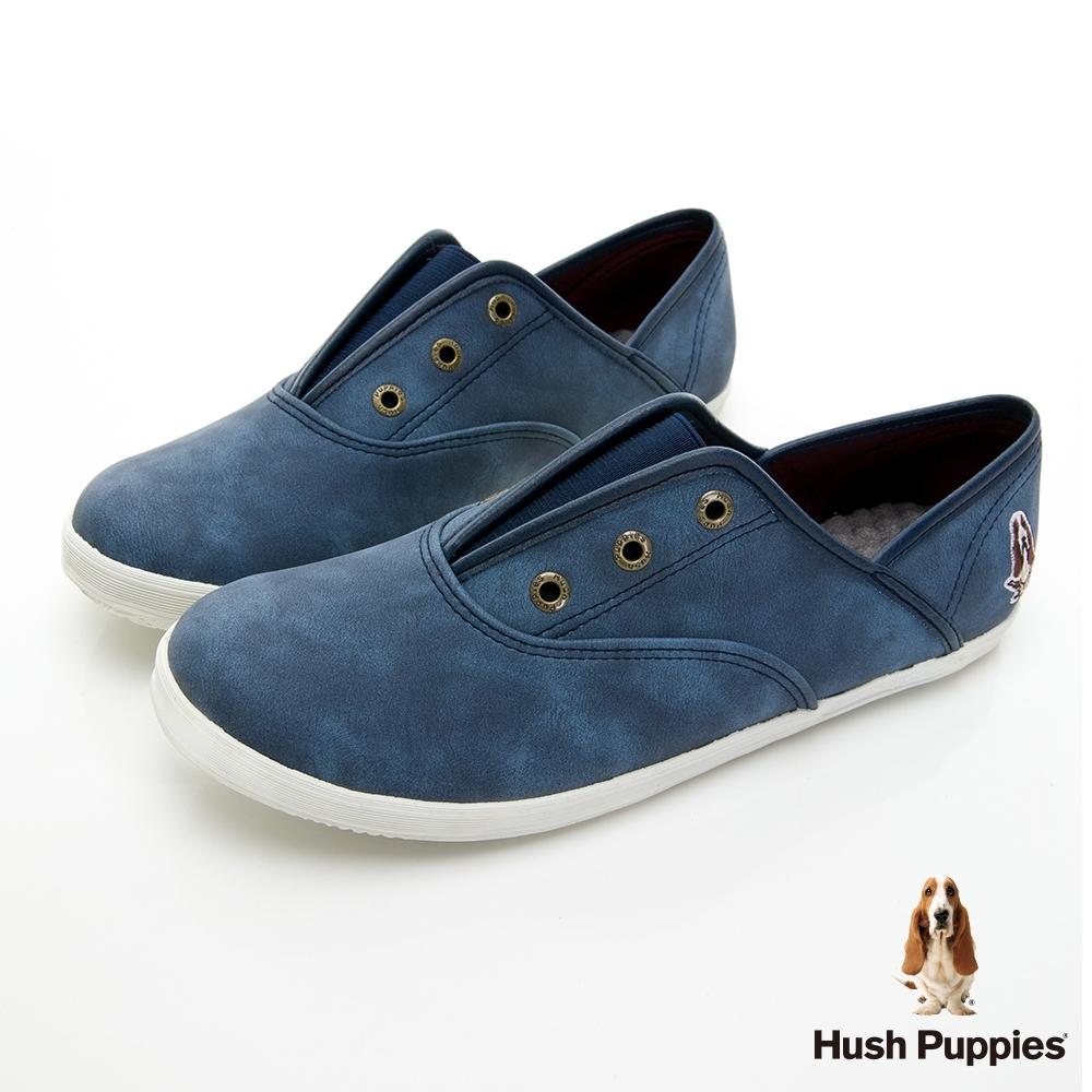 Hush Puppies 熱銷基本款咖啡紗皮質懶人鞋-深藍