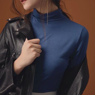AIR SPACE LADY 經典高領純色棉彈上衣(藍)