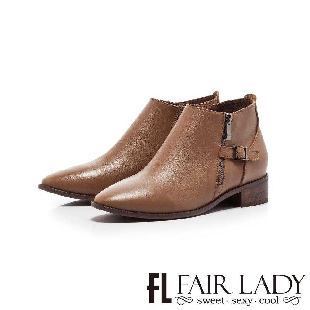 FAIR LADY 拉鍊造型釦帶尖頭低跟短靴 棕