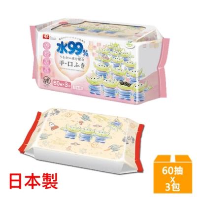 日本LEC 新款迪士尼三眼怪-口手專用純水99%濕紙巾-60抽x3包入