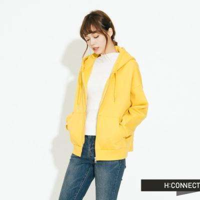 H:CONNECT 韓國品牌 女裝 - 休閒連帽口袋外套 - 黃