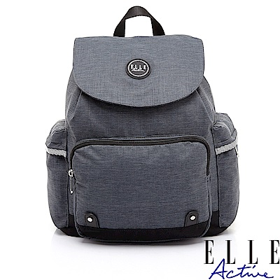 ELLE Active 優活旅行系列-袋蓋束口後背包-灰色