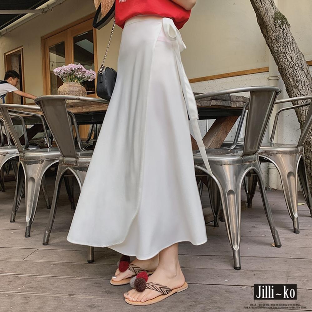 JILLI-KO 純色雪紡圍綁式一片裙- 白色