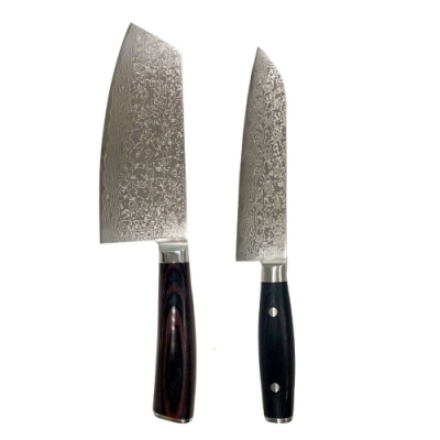 派樂 千層鋼刀具二件組(主廚刀-中華切刀)-大馬士革鋼