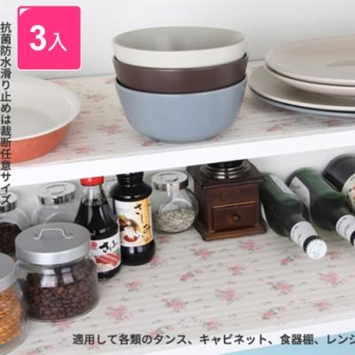 【KM生活】衣櫃墊櫥櫃墊抽屜墊防塵除桌墊圓點碎花水果3入/組(隨機出貨)