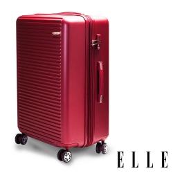 福利品 ELLE 28吋經典橫條紋ABS霧面防刮行李箱-紅色