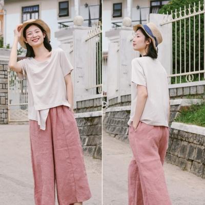 T恤-全棉不規則設計短袖文藝寬鬆個性-設計所在