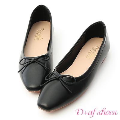 D+AF 典雅美感.小方頭芭蕾平底娃娃鞋*黑
