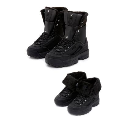 FILA 高筒絨毛靴-黑 4-C622T-000