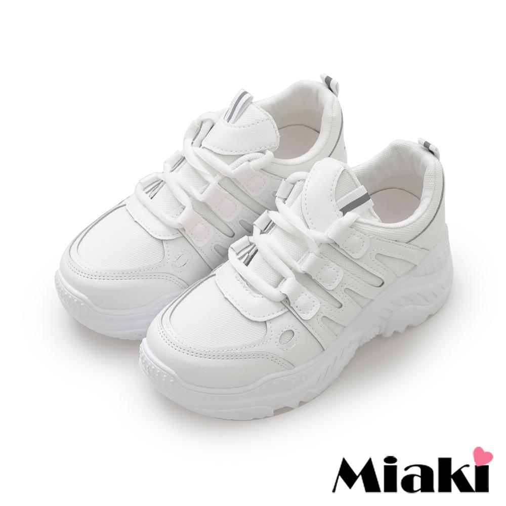 Miaki- 休閒鞋.粉系舒適加厚底小白鞋-白