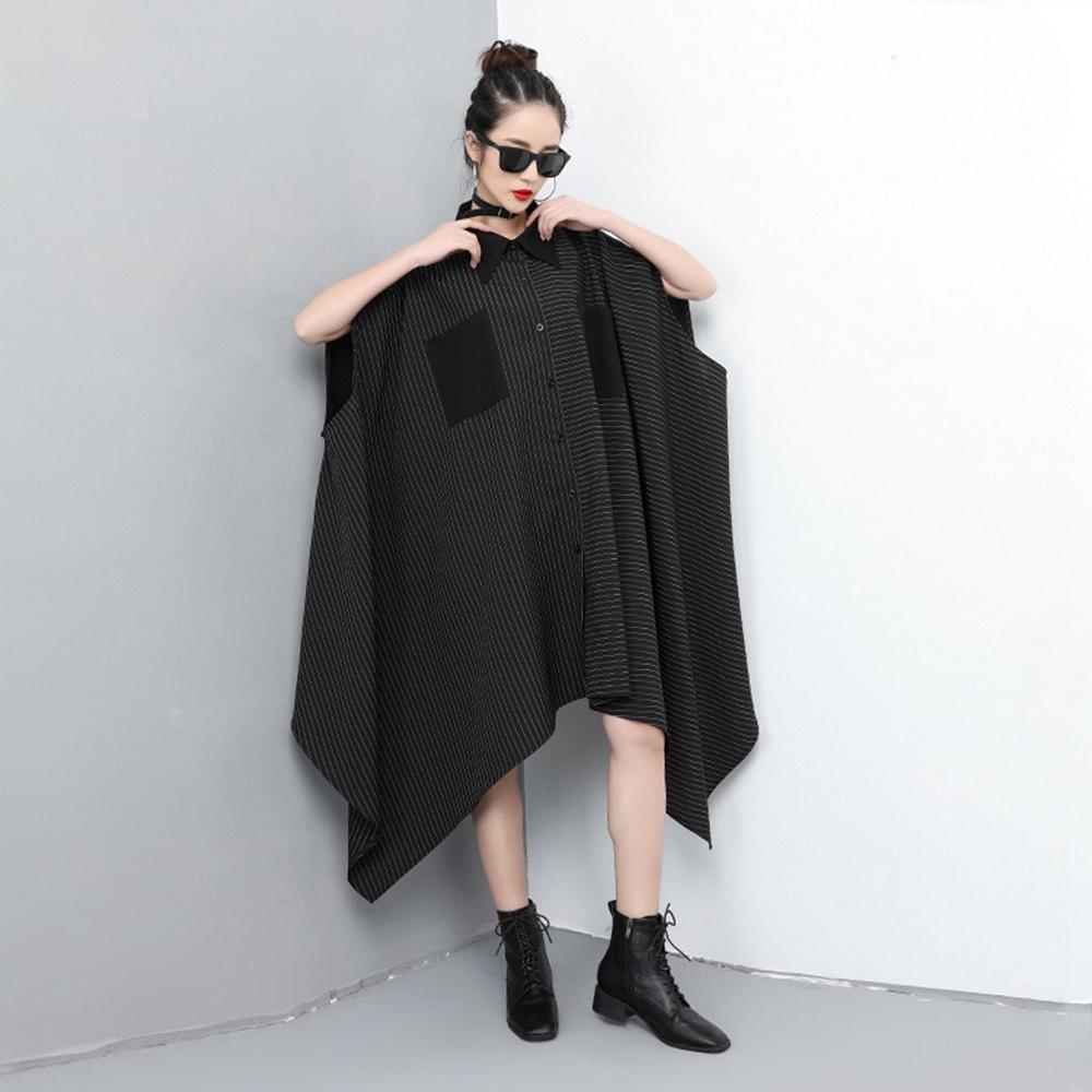 個性短袖不規則拼接條紋襯衫-F-CLORI
