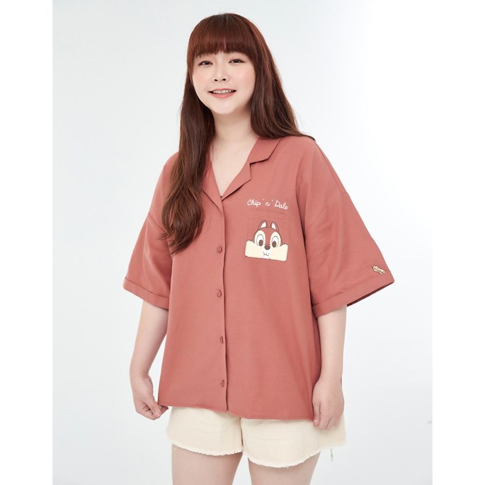 CACO-中大尺碼-奇奇款短袖襯衫-女【XDD039】