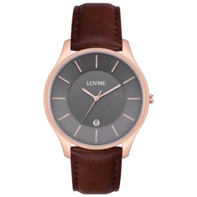 LOVME Simple時尚手錶-IP玫x灰/41mm