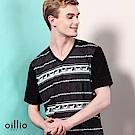 歐洲貴族oillio 短袖T恤 V領款式 馬車文字圖 黑色