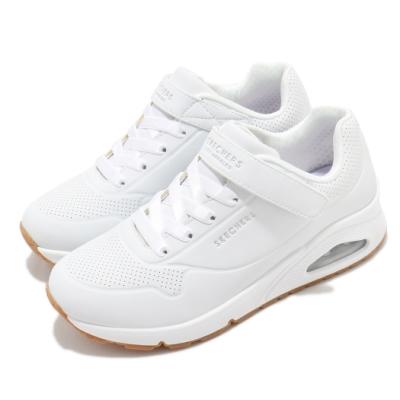 Skechers 休閒鞋 Uno-Air Blitz 魔鬼氈 女鞋 透氣記憶型泡棉鞋墊 回彈 緩震 大童 白 銀 310501LWHT