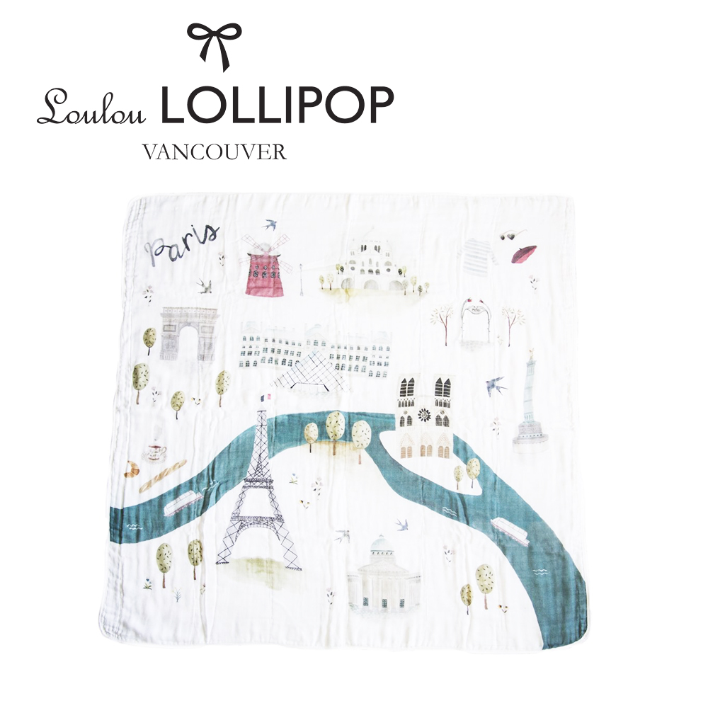 加拿大Loulou lollipop 竹纖維透氣包巾120x120cm-法國巴黎