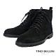 TINO BELLINI 男款牛麂皮內裡絨毛綁帶中筒黑靴 product thumbnail 1