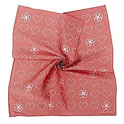 CLATHAS經典蒙太奇風格滿版愛心帕巾-紅/白