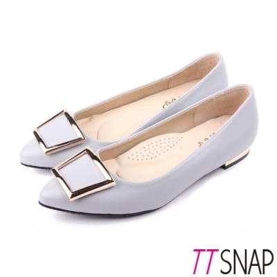 TTSNAP尖頭鞋-MIT時尚女伶方釦真皮金屬低跟鞋 藍