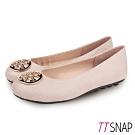 TTSNAP娃娃鞋-MIT簡約金屬飾扣蛇紋柔軟平底鞋 米