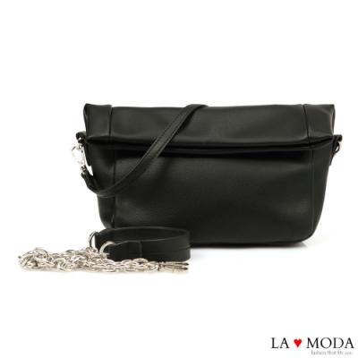 La Moda 極佳觸感柔軟可翻折多背法肩背斜背鍊帶包(黑)